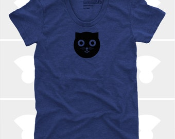 Watson the Cat Women's TShirt, Shirt, Women Top, Kitty, Navy, Crazy Cat Lady, Meow, Cat Shirt (4 Colors) TShirt for Women