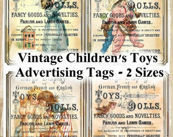 Vintage Children's Toys Advertising Collage Tags in 2 Sizes INSTANT DOWNLOAD Digital Printable