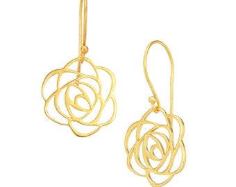 Rose Floral Earrings in 18K Gold Plated, Mother's Day Gifts, Bridal Gifts, Gifts for Her