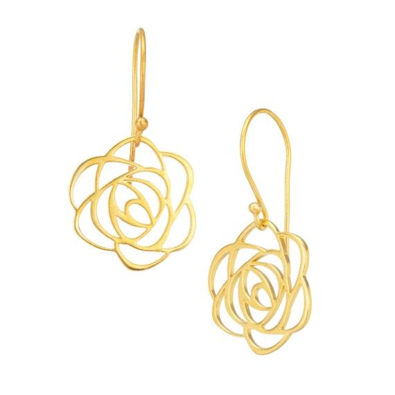 Art Noveau Inspired Rose Earrings in 24K Gold Plated Bronze