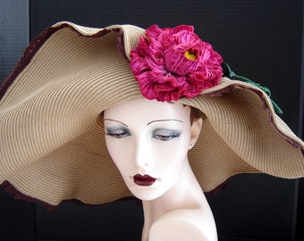 Wide Brim Summer Hat In Light Toast Brown With Magnificent Ribbon Flower On Sale