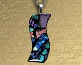 Fused Dichroic Glass Pendant Jewelry, Dichroic Pendant, Omega Slide Pendant - Northern Lights - LB182