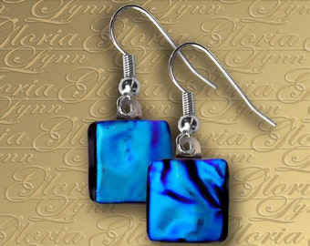 Teal Dichroic Fused Glass Earrings - ER456