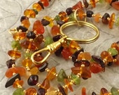 Back to School Fall Foliage autumn colors mutiple gemstone chip lanyard ... perfect for your ID badge key eyeglasses