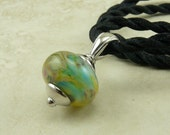 "Caribbean Geography - Lampwork Bead Focal Pendant Necklace - 18"" Satin Cord - Aqua Teal Green Brown Beige"