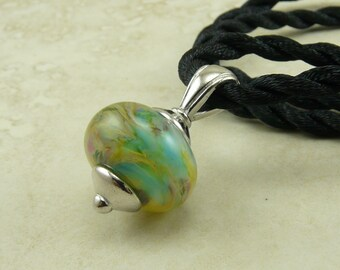 "Caribbean Geography - Lampwork Bead Focal Pendant Necklace - 18"" Satin Cord - Aqua Teal Green Brown Beige"