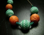 SALE !!! Miami Dolphins Orange and Teal Raffia and Crochet Bead Necklace