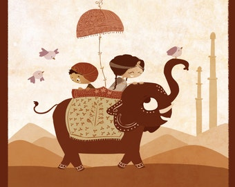 "Indian Art, Around the world nursery, Elephant Art, Kids Art, Kids Wall Art - ""A Grand Adventure"" - Art Print 13x19"