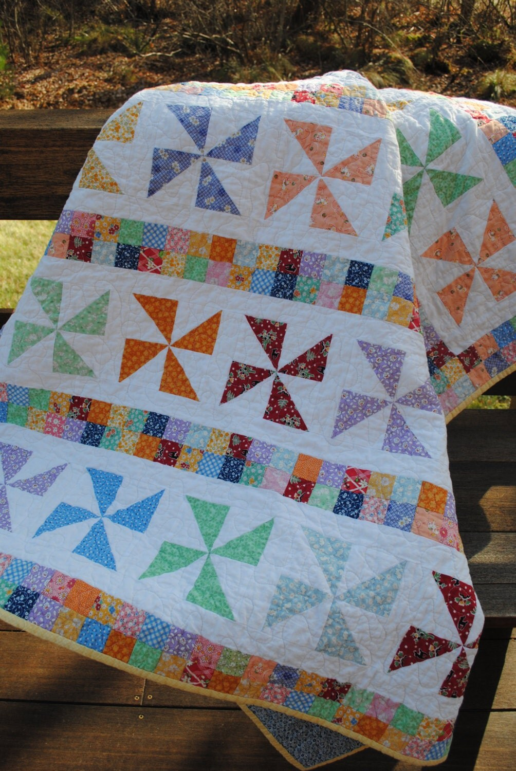 Patchwork Quilt Reproduction 1930 S Feedsack Lap Quilt Or
