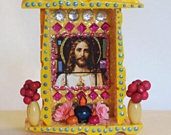 Mexican Wood Nicho, Jesus Nicho, Mexican Folk Art, Day of the Dead, Ofrenda Decor, Jesus Picture, Catholic Nicho, Mexican Kitsch, Nicho