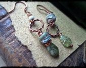 Rustic asymmetric earrings, Handmade lampwork glass Grossular garnet Forged copper hoops - Seaweed