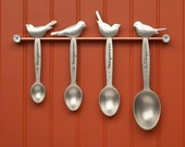 bird measuring spoons - hand cast pewter