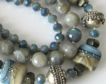 Triple Strand Lampwork Statement Necklace and Earrings, Blue Flash Labradorite Gemstones, Denim Blue Crystals, Silver, Beaded Jewelry