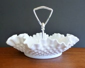 Vintage Milk Glass Bon Bon Dish with handle, Hobnail, ruffled edge, collectable, pressed glass, mid century, V0137