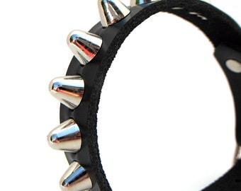 Tiny Leather Dog Collar with Gentle Spikes, Size XXS to fit a 6-8 Neck, Biker Style, Black Leather Collar, Punk, OOAK