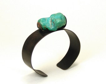 Copper and Turquoise Riveted Wrist Cuff Bracelet - Congenial