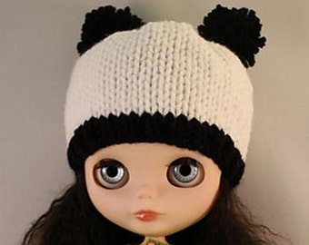 Blythe doll panda bear hat with bobble ears knitting PATTERN - instant download - permission to sell finished objects