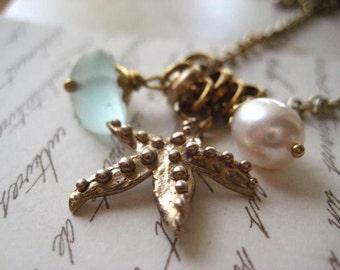 Starfish Necklace, Beach Jewelry, Natural seaglass, Artisan Bronze, Natural pearl, Brass Rolo Chain, aqua blue glass, womens jewelry