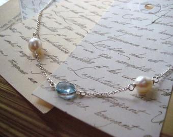 Blue Topaz Necklace, September Birthday, Natural Pearls, Genuine Pearls, Swiss Blue, Bezel Set, Sterling Silver, Sky Blue