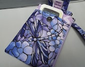 Womens Wristlet Wallet or Small Bag with Smart Phone Pocket Mosaic Dragonflies Fabric