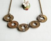 Good For Amusement Only Brass Token Linked Necklace