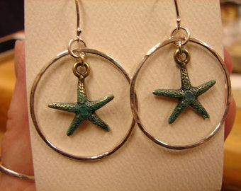 Patina Starfish in Sterling Hoops