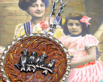 Antique Bird BUTTON necklace, Victorian birds on sterling silver, OOAK one of a kind jewellery.