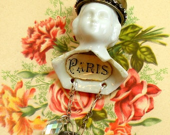 Antique DOLL necklace, Victorian china doll head, assemblage necklace on sterling. One of a kind jewllery.