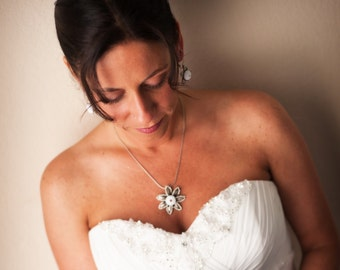 Bridal Sea Urchin Necklace - White Flower Necklace Beach Wedding Jewelry