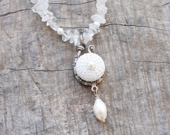 Clear Quartz Sea Urchin Necklace with Pearls Beach Wedding Jewelry