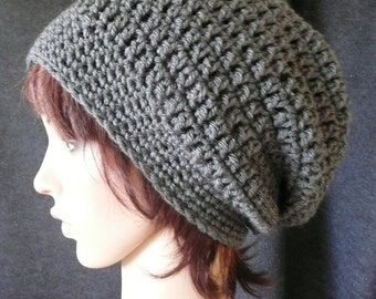 Super Slouchy Beanie in Medium Charcoal Gray