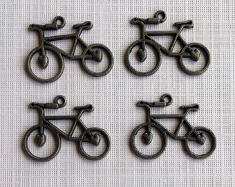 6 Antique Brass Finish Bicycle Charms