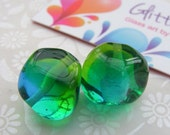 Lampwork Beads Green and Blue Two Tone Nuggets Pair