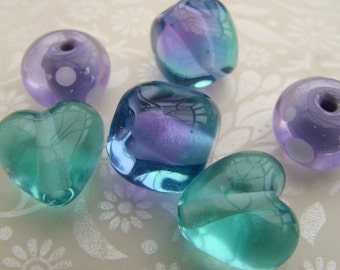 Lampwork Beads Purple and Blue Lilford