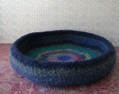 Scrappy Blues  Felted Whatnot/Ring Bowl/Tray