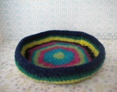 Scrappy Stripes -  Felted Whatnot/Ring Bowl/Tray