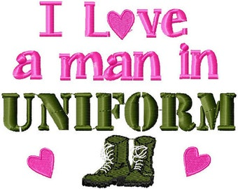 I love an man in uniform T-shirt Embroidered  Army Military newborn - Childrens size