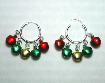 Christmas Holiday 925 Sterling Silver Hoop Earrings with Red Jingle Bells Gold Jingle Bell and Green Jingle Bells Dangles