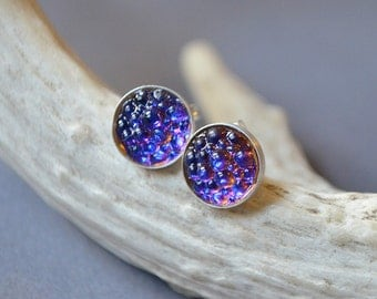 Bermuda Blues Earrings Made With Color Changing Glass Cabs