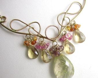 The Fairy Queen Necklace - 14k Gold Fill, Golden Rutilated Quartz, Champagne Quartz and Sapphires