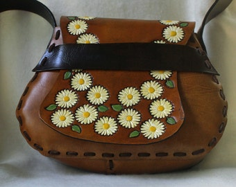 Hand Tooled Leather Handbag Crossbody Purse Hippie Hobo Style with Daisies