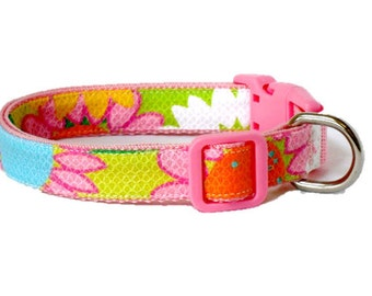 Dog Collar Made from Lilly Pulitzer Fireworks Fabric  Size: Your Choice