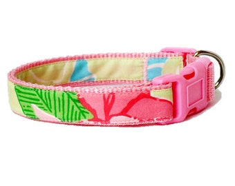 Dog Collar Made from Lilly Pulitzer Island Patch Fabric Size: Your Choice