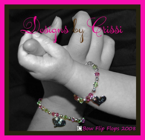 Birthstone Bracelet for sisters -big sis or lil sis- green and pink crystals- choose any color-jewelry gift girl baby shower silver birthday