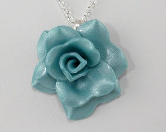 Light Turquoise Rose Pendant Necklace - Simple Rose Necklace - Handmade Bridesmaid, Wedding Jewelry - Polymer Clay Rose - #323 Ready to Ship