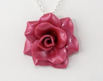 Magenta Rose Pendant - Simple Rose Necklace - Magenta Pink Rose Necklace - Handmade Wedding Jewelry - Polymer Clay Rose Pendant - #280