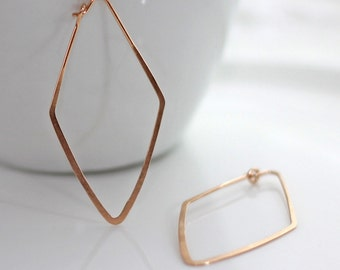 Rose Gold Hoop Earrings / Diamond Shape Earrings / Rose Gold Geometric Earrings / Rose Gold Earrings