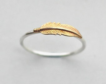 Sterling Silver Feather Ring, Brass Feather Ring, Feather Jewelry, Girlfriend Gift, Wife Gift, Anniversary Gift, Feather Stacking Ring