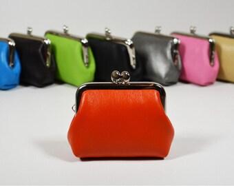 Leather Coin Purse Earbud Holder Case Orange