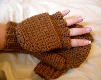Warm Wool Crocheted Cocoa Convertible Fingerless Mittens/Gloves - Chocolate Brown Mocha Mink